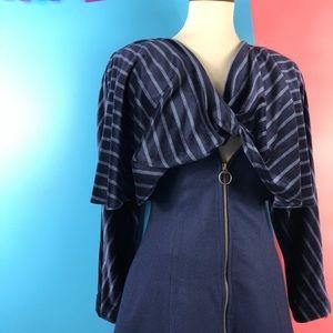 Vtg 80s Striped Velvet Zipper Long Sleeve Dress SM
